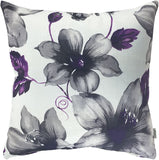 LAZAMYASA Printed Rose Cover Pillows Case Soft Throw Pillow Double-Sided Digital Printing Couch Pillowcase Square 18 x 18in,Purple