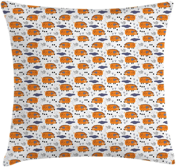 "Ambesonne Cartoon Throw Pillow Cushion Cover, Baby Animal Piglet Repetitive Pattern on Plain Background, Decorative Square Accent Pillow Case, 20"" X 20"", Orange Dark Indigo"