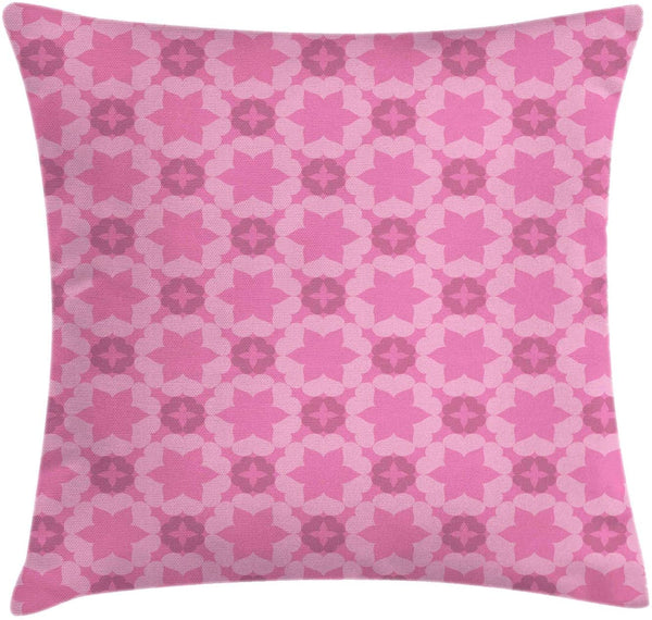 "Ambesonne Abstract Throw Pillow Cushion Cover, Floral Theme Flower Patterns with Royal Ornaments Modern Art, Decorative Square Accent Pillow Case, 18"" X 18"", Pink Baby Pink"