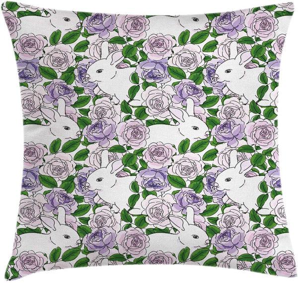 "Ambesonne Natural Throw Pillow Cushion Cover, Botanic Theme Rabbits Pattern in Roses and Leaves Motifs, Decorative Square Accent Pillow Case, 24"" X 24"", Baby Pink Pastel Purple"