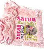 Kids-Pillowcases-By-Stockingfactory Personalized Baby Blanket (Pink - Personalized) Super Soft Micro Plush Fleece with Satin Trim with Name Elephant Giraffe Cute Animal Designs