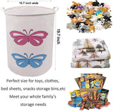 Decorative Storage Bins and Baskets 19.7 x 15.7 Inch, ZUEXT Extra Large Waterproof Storage Bin, Cotton Canvas Fabric Storage Basket, Round Laundry Basket w/Handles for Toys, Baby Nursery (Vehicles)