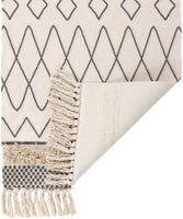 Tufted Cotton Area Rug 2' x 3', KIMODE Woven Fringe Throw Rugs Print Tassel Geometric Welcome Door Mat Machine Washable Indoor outdoor Floor Runner Rug for Porch Kitchen Bathroom Living Room