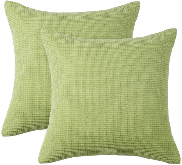"PHF Velvet Corduroy Corn Pillow Covers Cases Pack of 2 Cushion Cover Solid Couch Sofa Bed Winter Decor 18"" x 18"" Apple Green"