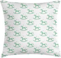 "Ambesonne Childish Throw Pillow Cushion Cover, Monochrome Rocking Unicorn Chairs Bubbles Nursery Baby Shower Pony, Decorative Square Accent Pillow Case, 18"" X 18"", Almond Green and White"