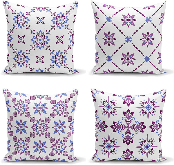 Ysahome Floral Decor Pillow Cover - Porcelain Pattern Square Cushion Cover - Cross Curve Throw Pillow Case - Modern Abstract Theme Decorative Accent Pillow, 18x18 Inches, White Purple Blue (Set of 4)