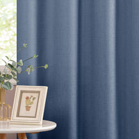 jinchan Semi Sheer Window Curtains for Living Room 95 inches Long Linen Textured Blue Floor Length Casual Weave Curtain Panels for Bedroom One Pair Blue