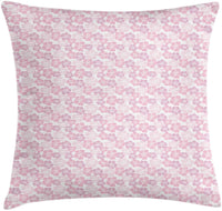 "Ambesonne Floral Throw Pillow Cushion Cover, Continuous Pastel Blush Tones Flowers Illustration on Plain Backdrop, Decorative Square Accent Pillow Case, 20"" X 20"", White Rose and Baby Pink"