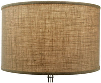 "FenchelShades.com 18"" Top Diameter x 18"" Bottom Diameter 12"" Height Cylinder Drum Lampshade USA Made (Burlap)"