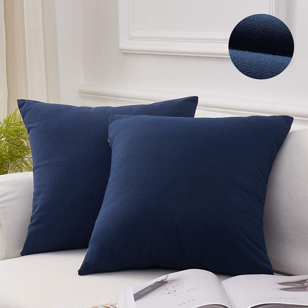 "MoMA Decorative Throw Pillow Covers (Set of 2) -Pillow Cover Sham Cushion Cover - Throw Pillow Cover - Sofa Throw Pillow Cover - Square Decorative Pillowcase - Navy Blue - 20"" x 20"""