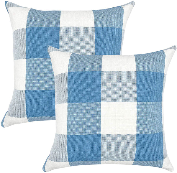YOUR SMILE Retro Farmhouse Buffalo Tartan Checkers Plaid Cotton Linen Decorative Throw Pillow Case Cushion Cover Pillowcase for Sofa 18 x 18 Inch, Set of 2, Baby Blue/White