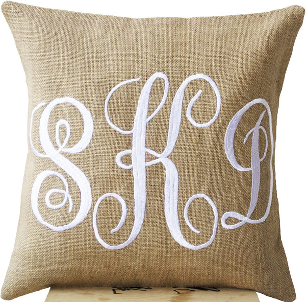 Amore Beaute Handcrafted Burlap Monogram Pillow Covers Embroidered with Three Letters in Cursive Font - Custom Monogrammed Gifts - Initial Cushion Cover- Baby - Wedding Pillow - Boho Chic Natural Burlap Cushion Cover (20 X 20)