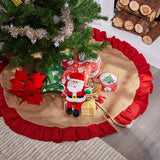Burlap Christmas Tree Skirt - 50-Inch Skirt with Ruffled Trim, Winter Holiday Vintage Decoration, Natural Brown Color and Red Trim, Classic Style Indoor Festive Season Decor