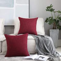 Kevin Textile Set of 4 Burlap Lined Linen Square Throw Cushion Pillowcase Covers for Sofa, 18x18, Sangria Red