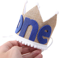 BOOMPA 1st Birthday Crown Hat for Baby - Headband Prince Princess Cake Photo Prop - Handmade Birthday Themed Party Crown Hat - Best Photo Booth Props and Backdrop Cake Smash Blue
