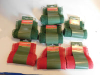 "Decorative Burlap Ribbon 4"" wide x 1 yard long FOREST GREEN & RED 7 rolls"