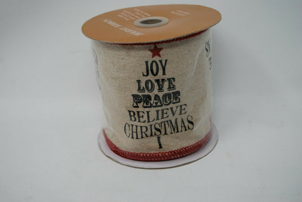 "Christmas Holiday Burlap Ribbon Joy Peace Love Believe Christmas 4"" Wide 10 Yard"