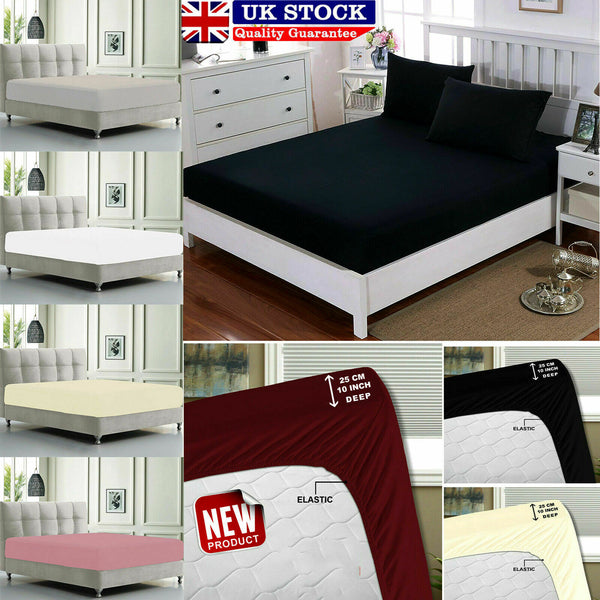 Extra Deep Fitted Sheet Bedroom Mattres With Elastic Bed Single Double King Size
