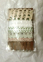 5 yd Mixed Ribbon Burlap Trim Cord Rustic Lace Gift Wrap Vintage beige white