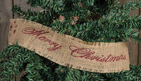 """Merry Christmas"" Burlap Ribbon Garland 10 FT Long 2"" High, Prim,Crafts,Country"