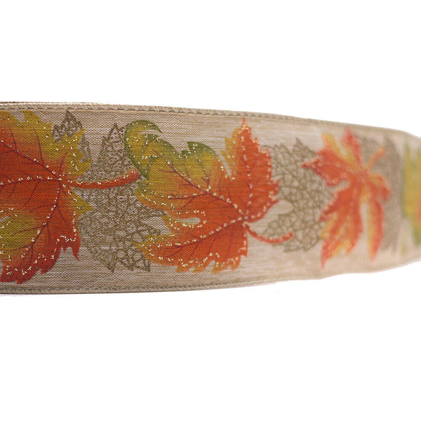 2-1/2in 10YD Wired Fall Maple Printed Burlap Ribbon for Gift,Floral,Craft Use