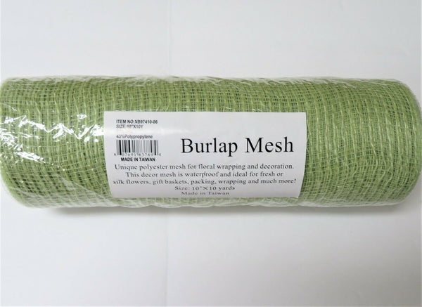 "Lite Green Waterproof Floral BURLAP MESH 10"" x 30 ft- for Fresh,Silk Flowers,etc"
