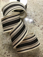 "10 Yds Of 2 1/2"" Black & Cream Farmhouse Striped Wired Edge Faux Burlap Ribbon"