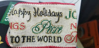 "Christmas Ribbon Wired Edged Faux Burlap ""X Mas Sayings"" 50 Yards by 2.5 inches"