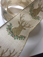 "Gold Deer Stag w/Garland Holly Berry Burlap WIRE EDGED RIBBON 2-1/2"" x 5 Yards"