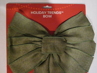 "Holiday Trends Bow 12"" Green Burlap New in Pkg. Nice Price$$"