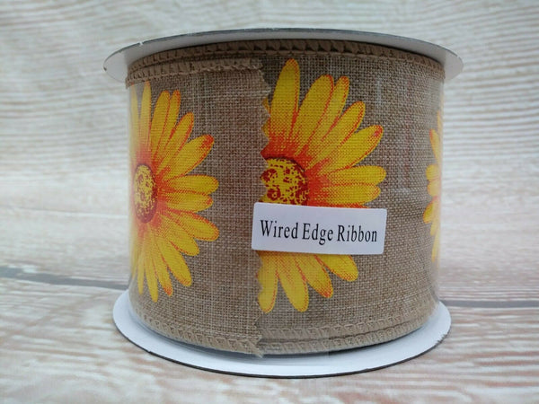 "NEW SUNFLOWER Ribbon 2.5"" x 3 YD Wired Edge Farmhouse COUNTRY Rustic Burlap-Like"