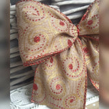 Wired Burlap Hessian Christmas Ribbon Red Glitter & Gold Swirls Bow Cake Tree