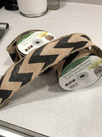 "2.5"" wide Black Chevron Printed Burlap Ribbon 10 yards"