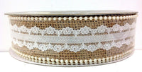"Burlap Lace Pearls Wired Ribbon~1 1/2"" Wide x 10 Yards"