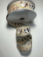 "5 Yds Of 2 1/2"" Wired Farm Animal Faux Burlap Ribbon With Cows, Pigs And Chicken"