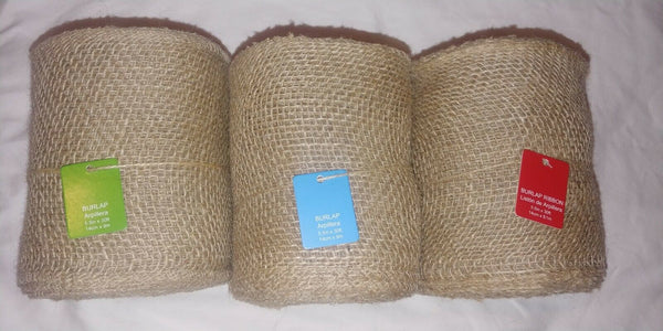 "BURLAP Jute Ribbon Roll, Natural Tan, Unwired Finished Edge (10 yds 5.5"" Wide)"