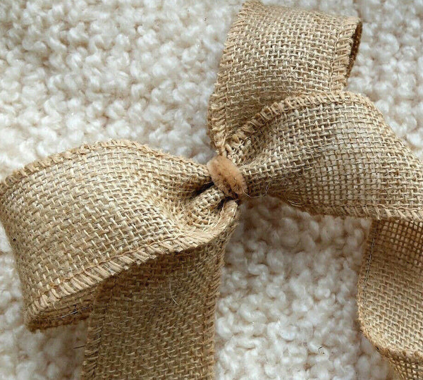 1m X 32 - 50mm WIRED RIBBON NATURAL HESSIAN JUTE BURLAP FLORAL CHRISTMAS WREATH