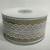 Hessian Burlap natural Jute Ribbon Plain or with Lace Vintage gift wrapping