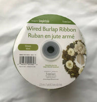 "Wired Burlap Ribbon Flora Craft Green 2 1/2"" x 7 yd"