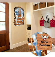 3D effect Suspension Bridge Self-Adhesive Wall Sticker DIY Floor Decal 70x100cm