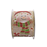 2-1/2in10Y Christmas Cute Snowman Burlap Ribbon for Gift, Floral, Craft Use