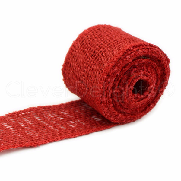 "2"" Burlap Ribbon - Red Color - 10 Yards - Finished Edge - Jute Craft Fabric"