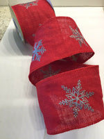 "5 Yds - 4"" Red Wired Burlap Christmas Ribbon With Grey Embroidered Snowflakes"