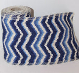 New Burlap Jute Ribbon Tie Dye Effect Blue Wavy 4 Meters Arts And Craft