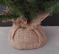 "18 "" GREEN PINE XMAS TREE W/BURLAP COVERED BASE~YOU DECORATE ~NICE & FULL"