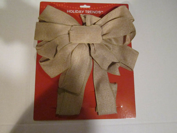 "Holiday Trends Bow 12"" Tan Burlap New in Pkg. Nice Price$$"
