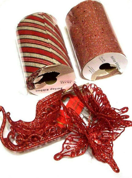 craft bundle 2 rolls burlap ribbon and sparkle set of 2 butterflys and xmas slei