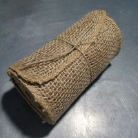 BURLAP Ribbon Roll Natural Tan, Finished Serged Edge, 15 ft long, 5.5 in. Wide