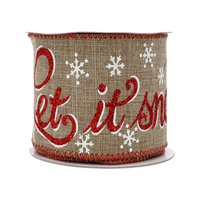2-1/2in 10YD Christmas Red Glitter Text Burlap Ribbon for Gift, Floral Craft Use
