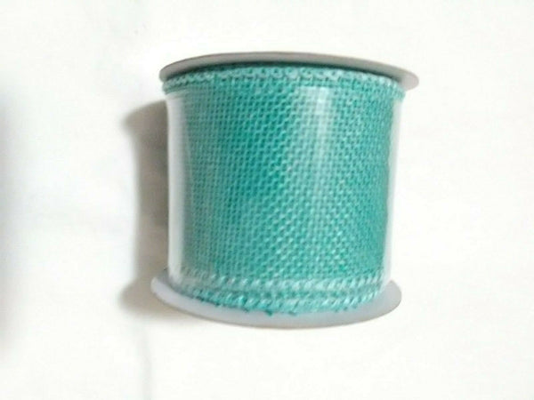 "TEAL BURLAP WIRED RIBBON 2"" x 3 "" x 9 FEET."